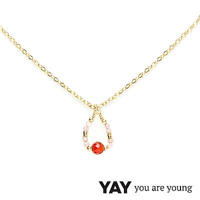 YAY You Are Young 法國品牌 Cleo 玫瑰粉玉石項鍊 水滴墜設計 金色