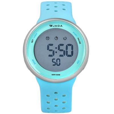 JAGA 捷卡  電子運動計時鬧鈴冷光照明透氣矽膠手錶-天空藍灰色/43mm
