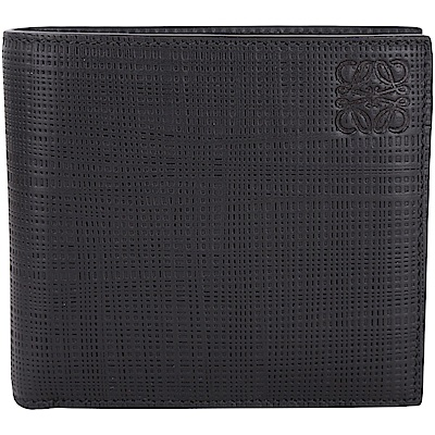 LOEWE Anagram 編織壓紋小牛皮對折短夾(黑色)