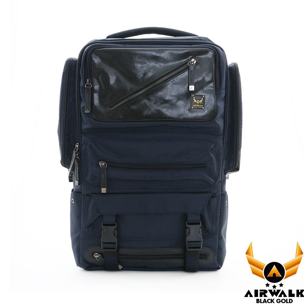 AIRWALK - 黑金閃靈系列 菱格雙料皮感箱型機器人後背包 - 不見藍
