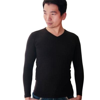 SOLIS 嚴選 MIT 長袖V領手感吸濕發熱衣(黑色)