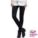 孕婦褲 長褲 孕期割破顯瘦窄管合身褲(共二色) Mamaway