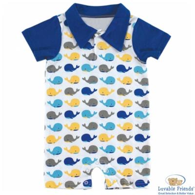 Luvable Friends 深藍袖黃藍灰鯨魚短袖連身裝