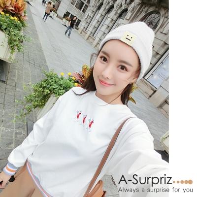 A-Surpriz 方塊笑臉徽章反摺毛線帽(白)