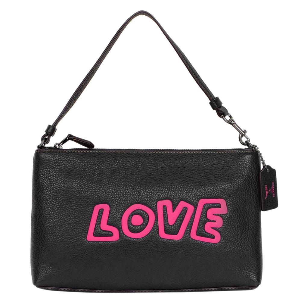 COACH Keith Haring LOVE黑色全皮方型手提掛小包COACH