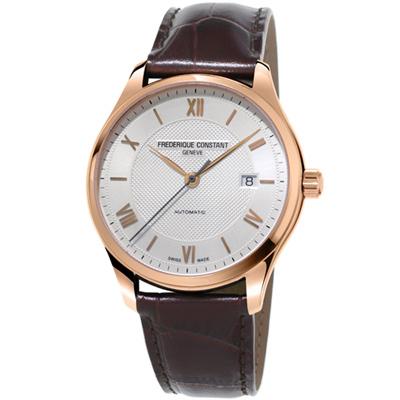 康斯登CLASSICS百年經典系列INDEX腕錶-42mm/銀白x咖啡