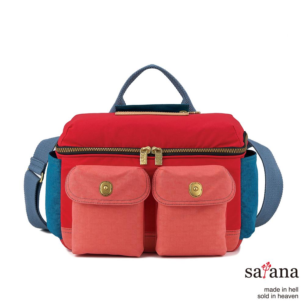 satana - 拼接相機包/野餐包 - 紅藍混色