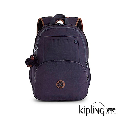 Kipling 後背包 藏藍撞色素面-大