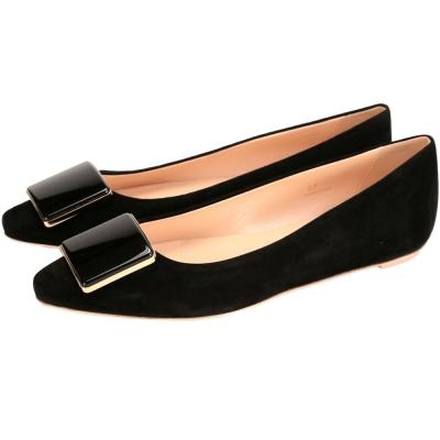 TOD'S 方塊麂皮尖頭平底鞋(黑色)