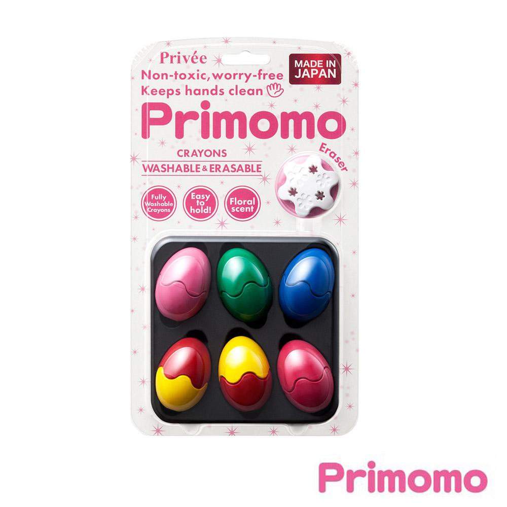 Primomo-普麗貓趣味蠟筆(蛋殼型)6色-附橡皮擦
