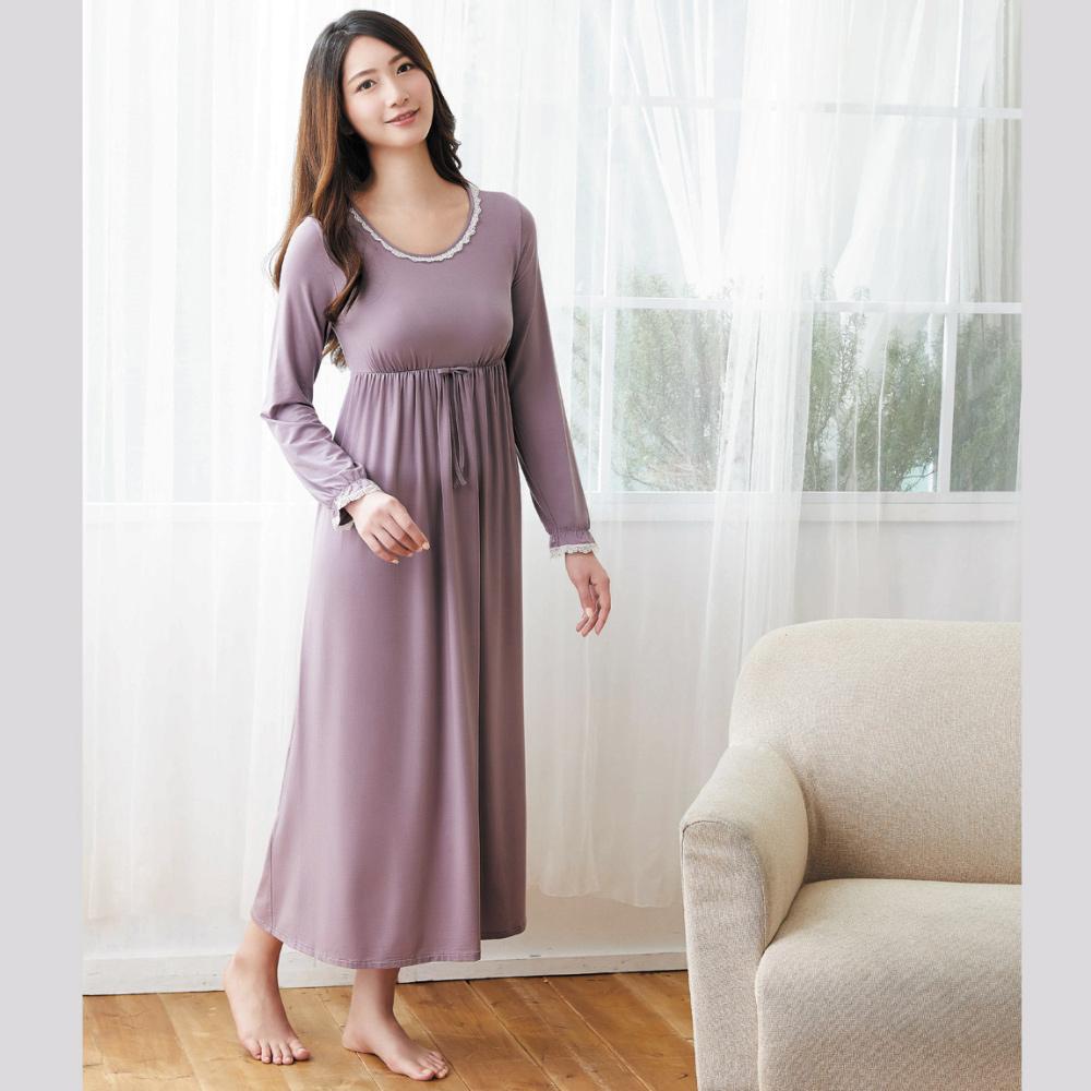 華歌爾 天絲棉針織 M-L 長袖圓領裙裝(紫)-睡眠研究所-家居服-舒適保暖-內襯罩杯