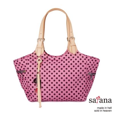 satana -929 Ladies 都會摩登 知性氣質托特包-凡爾賽玫瑰圓點