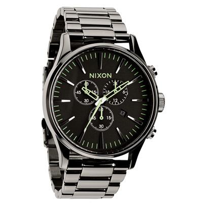 NIXON The SENTRY CHRONO 藍調搖滾潮流運動腕錶-亮黑/42mm