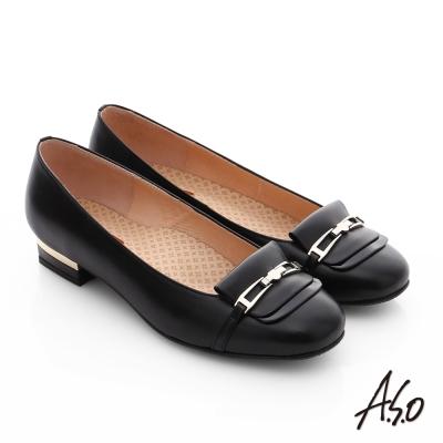 A.S.O 舒活寬楦 牛皮層次飾扣奈米窩心低跟鞋 黑色