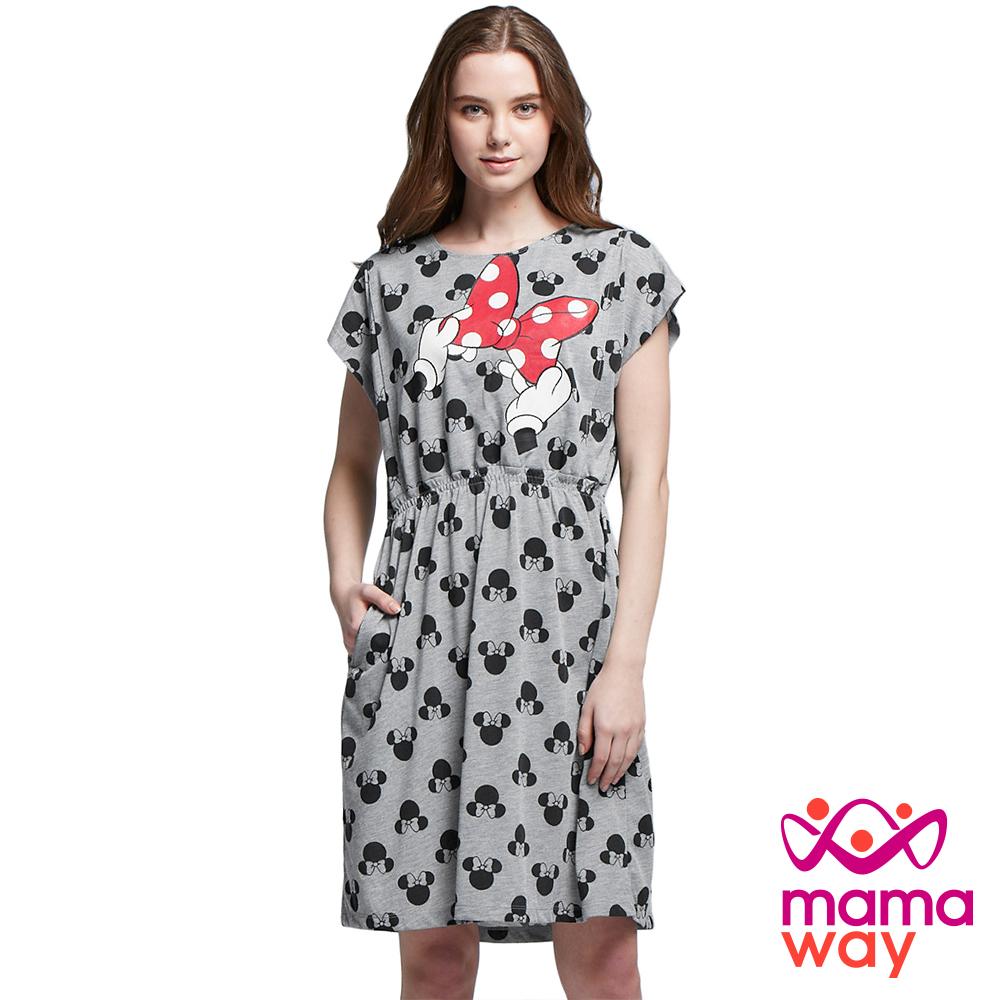 孕婦裝 哺乳衣 迪士尼淘氣米妮蝴蝶結洋裝 Mamaway
