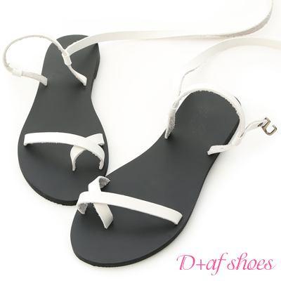 D+AF 盛夏專屬.交叉套指長繞帶平底涼鞋*白