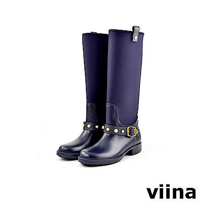 viina 時尚珍珠高筒雨靴-深藍