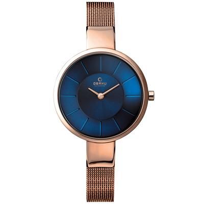 OBAKU 采麗時刻米蘭腕錶-海藍x玫瑰金/32mm