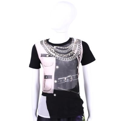 MOSCHINO 黑色鍊飾外套圖印透膚設計短袖上衣