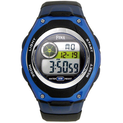 FEMA 帥氣隨性 計時鬧鈴 數位運動錶(P205)-黑x藍/34mm