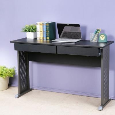 Homelike 皮特120x40工作桌(附二抽)-仿馬鞍皮