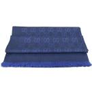 GUCCI 雙G緹花羊毛絲綢披肩圍巾/大絲巾.深藍