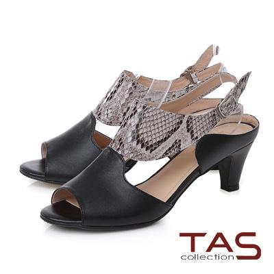 TAS曲線拼接鏤空尖頭高跟涼鞋-摩登黑