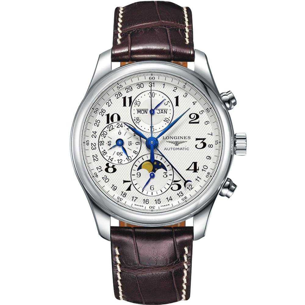 LONGINES 浪琴 巨擘系列全日曆月相計時碼錶-銀x咖啡/42mm