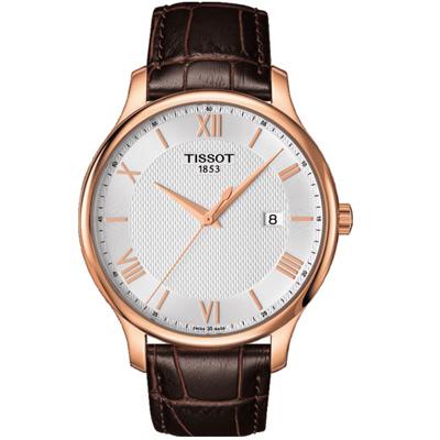 TISSOT T-TRADITION 經典薄型紐索紋石英腕錶-銀x玫瑰金/42mm