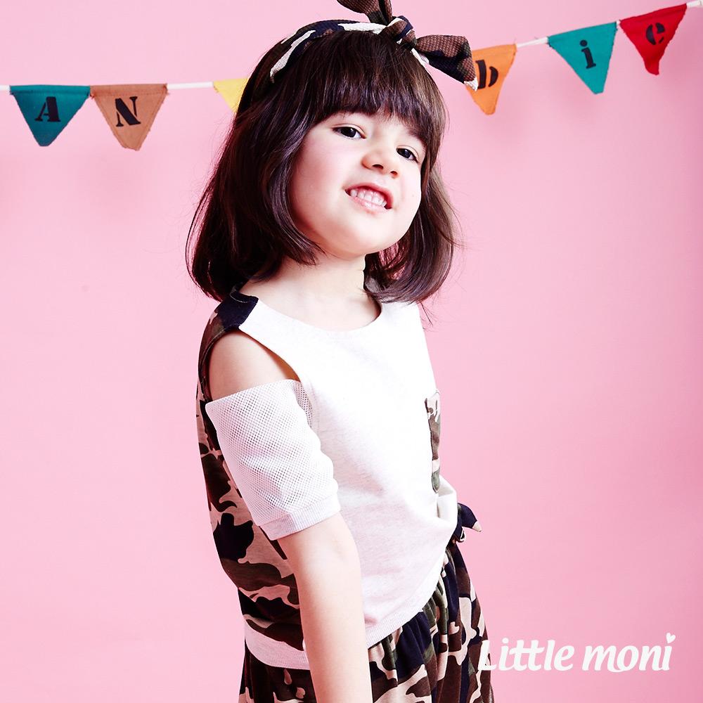 Little moni  迷彩時尚露肩造型上衣 軍綠