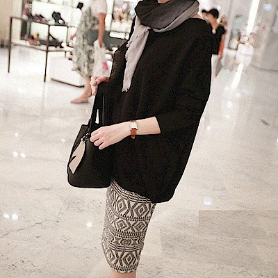 La Belleza素色蝙蝠袖寬鬆顯瘦遮肚棉料包臀洋裝