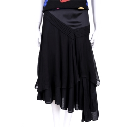 ANNA MOLINAR 黑色拼接不規則設計中長裙