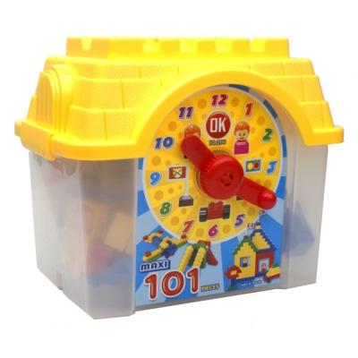 OK積木 我高積木大顆粒積木時鐘造型收納箱101片裝 OK111
