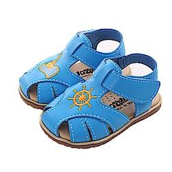 不對稱電繡手工涼鞋 藍 sk0344魔法Baby