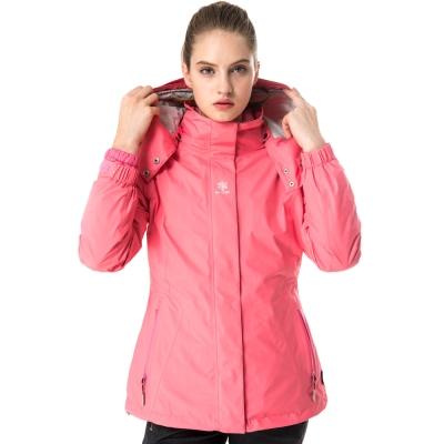 【hilltop山頂鳥】女款GoreTex兩件式防水羽絨拆袖短大衣F22FU0粉