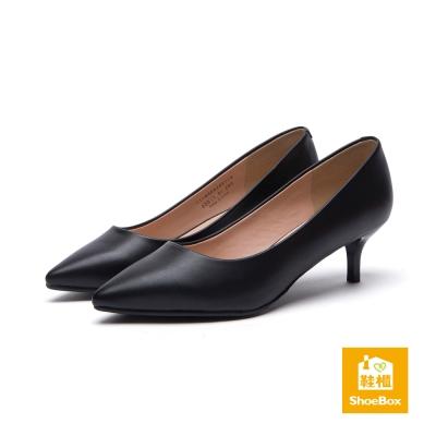 鞋櫃ShoeBox-高跟鞋-霧面經典款尖頭高跟鞋-黑