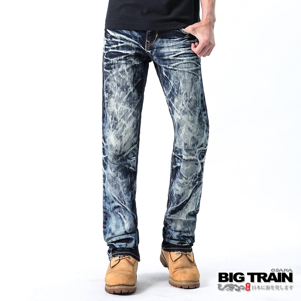BIG TRAIN-藍街頭惡童小直筒褲-深藍