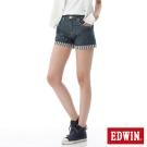 EDWIN MISS 503反摺條紋棉麻短褲-女-酵洗藍