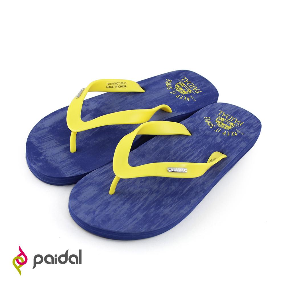Paidal簡單生活小巴士人字拖海灘拖夾腳拖-灰藍