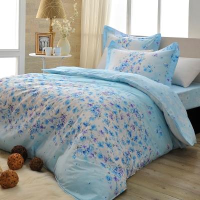 義大利La Belle 水藍花漾 雙人四件式舖棉兩用被床包組