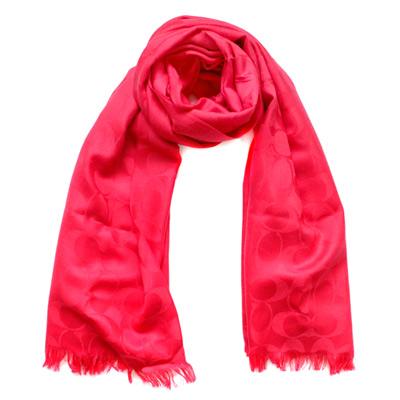 COACH莓紅色C Logo羊毛混絲寬版長圍巾(167x61)