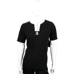 Y-3 黑白撞色V領拉鍊設計棉質短袖T恤