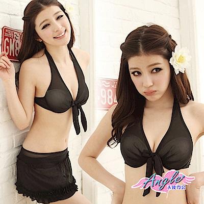 泳衣 黑色嘉年華 三件式鋼圈比基尼泳裝(黑L) AngelHoney天使霓裳