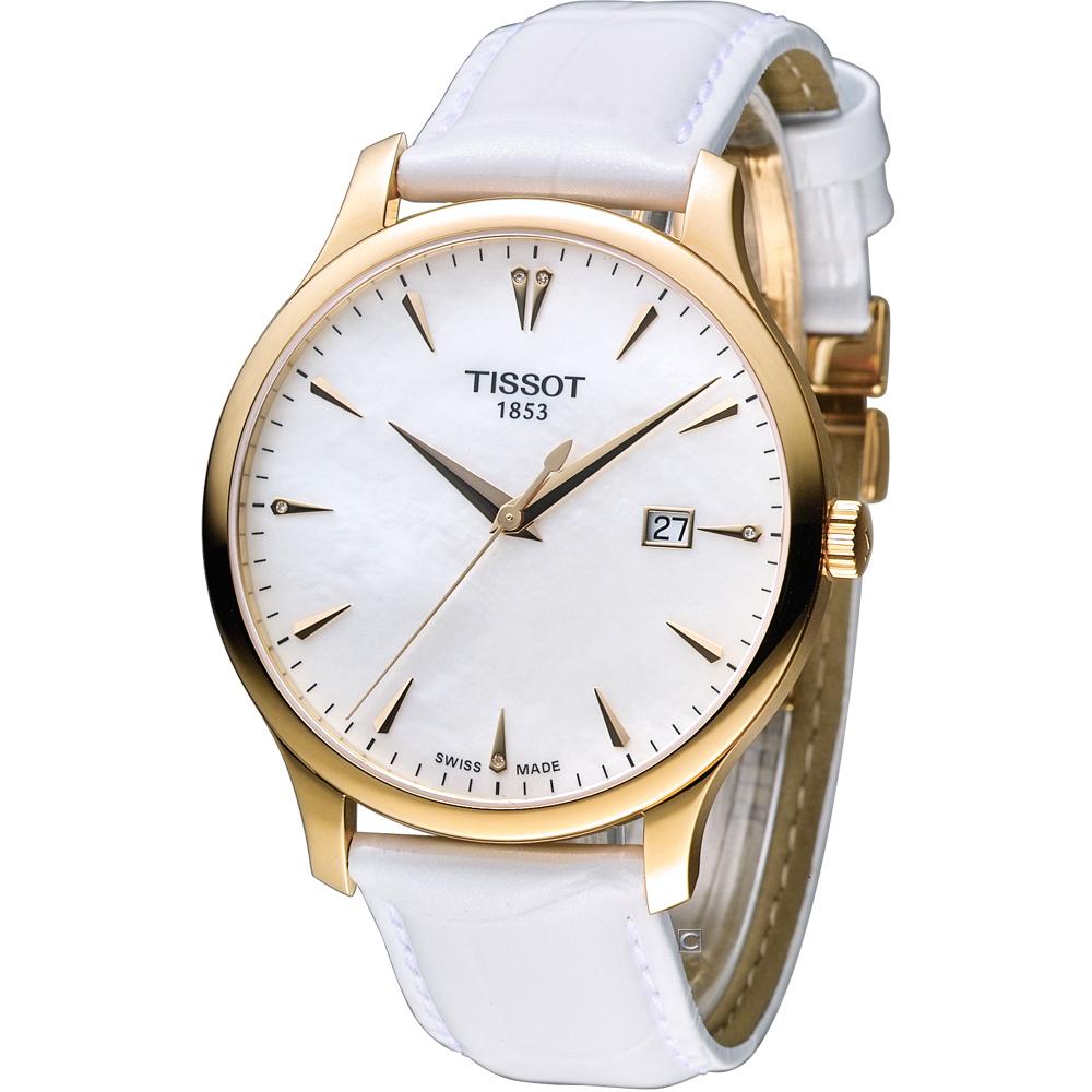 TISSOT 天梭 Tradition系列 經典懷舊時尚腕錶-白x玫瑰金框/42mm