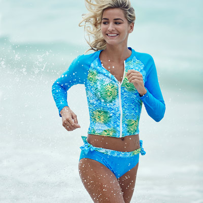 澳洲Sunseeker泳裝長袖防曬拉鍊衝浪兩件式水母衣泳衣組