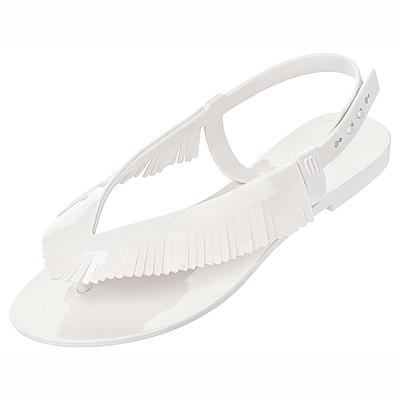 Melissa 簡約流蘇涼鞋-白色