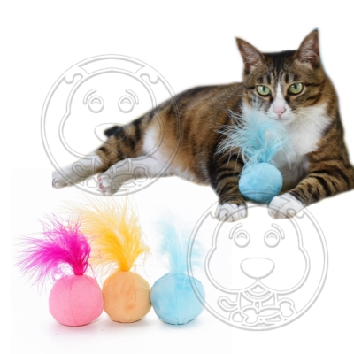 DYY》發聲貓薄荷球絨毛響鈴貓玩具 直徑5cm