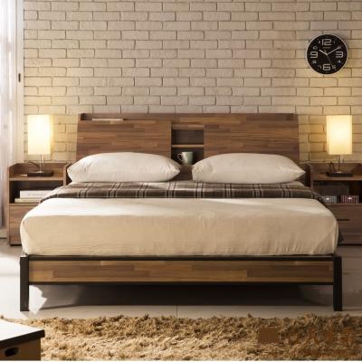 日本直人木業-Industrial 工業風立式5尺雙人收納床組