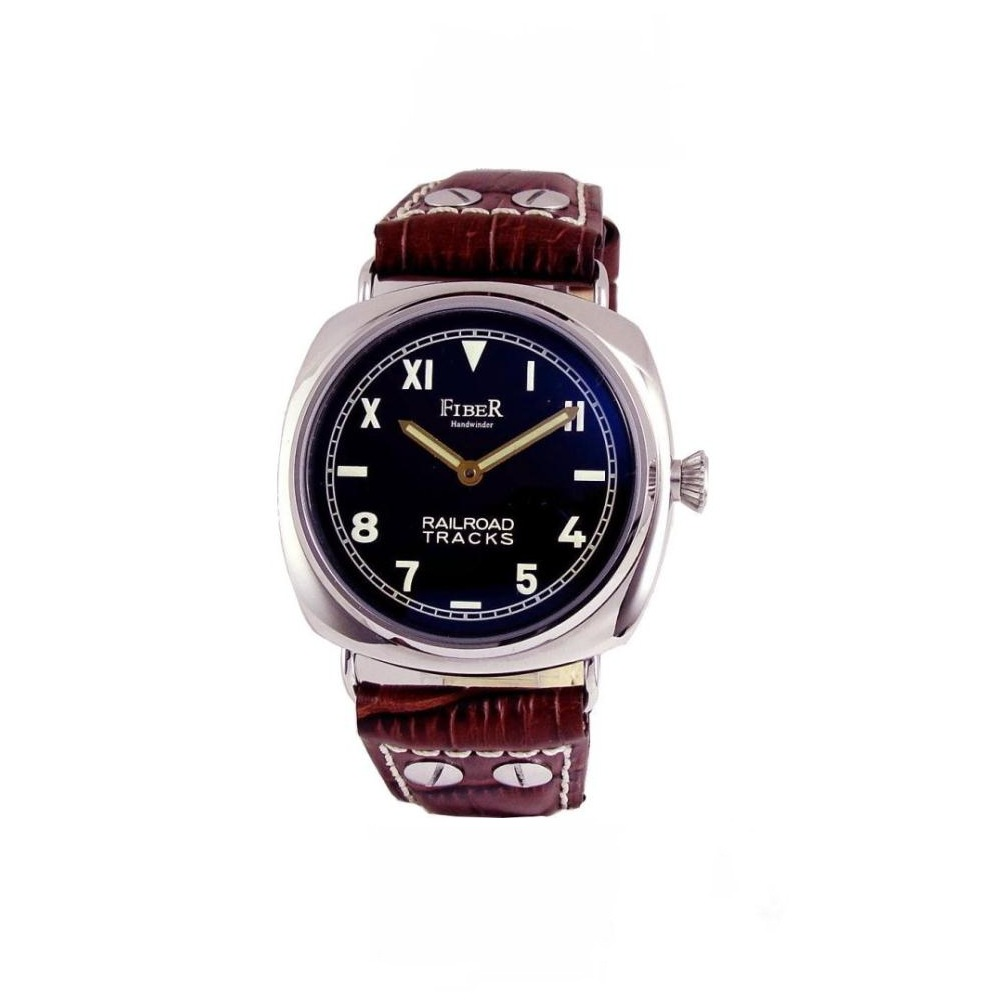 FIBER NEW RRAIL ROAD 系列手上鍊加州面盤軍用錶款-黑/45mm