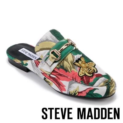 STEVE MADDEN-KANDI 馬銜扣刺繡布紋低跟穆勒鞋-花草綠